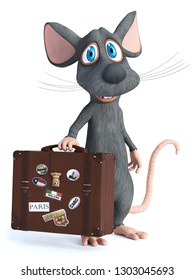 3D rendering of a cute cartoon mouse holding a travel suitcase and smiling. He seems ready to travel. White background.