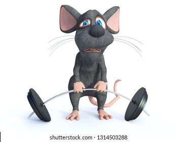 3D rendering of a cute cartoon mouse trying to lift a barbell. He looks like it's too heavy. White background.