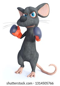 3D rendering of a cute cartoon mouse wearing boxing gloves. He looks angry, ready to fight. White background.