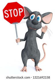 3D rendering of a cute cartoon mouse holding a red stop sign and holding his hand up like he is saying stop. White background.