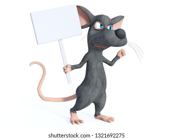 3D rendering of a cute cartoon mouse holding a blank sign and looking upset while marching and protesting. White background.