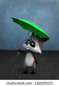 3D rendering of a cute cartoon raccoon holding a green umbrella in the rain.