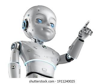 3d rendering cute robot or artificial intelligencerobot with cartoon character finger point