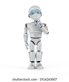 3d rendering cute robot or artificial intelligence robot with cartoon character thinking or analyze