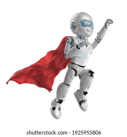 3d rendering cute robot or artificial intelligencerobot with cartoon character wear red cloak