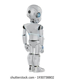 3d rendering cute robot or artificial intelligencerobot with cartoon character full length
