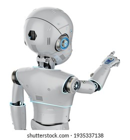 3d rendering cute robot or artificial intelligence robot with cartoon character finger point