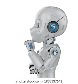3d rendering cute robot or artificial intelligencerobot with cartoon character thinking or analyze
