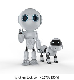 3d rendering cute robot with dog robot on white background