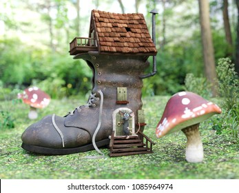3D rendering of a cute smiling cartoon mouse standing outside a fantasy shoe house in a fairytale toadstool forest.