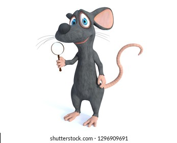 3D rendering of a cute smiling cartoon mouse holding a magnifying glass. White background.