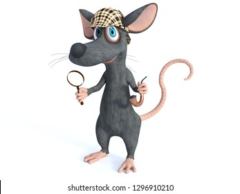 3D rendering of a cute smiling cartoon mouse holding a magnifying glass and pipe, dressed as detective sherlock holmes. White background.