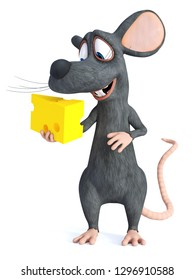 3D rendering of a cute smiling cartoon mouse holding a piece of cheese and looking at it with love. White background.