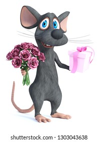 3D rendering of a cute smiling cartoon mouse holding a bouquet of pink roses in one hand and a gift in the other. He is ready for a romantic valentine's date. White background.