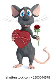 3D rendering of a cute smiling cartoon mouse holding a heart shaped chocolate box in one hand and a red rose in the other hand. He is ready for a romantic valentine's date. White background.