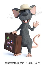 3D rendering of a cute smiling cartoon mouse holding a travel suitcase, wearing sunglasses and a hat, looking like a tourist and waving. He seems ready to travel. White background.