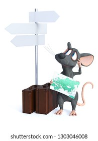 3D rendering of a cute smiling cartoon mouse holding a map and looking at a blank street sign behind him. He looks like he is ready to travel with two suitcases beside him. White background.