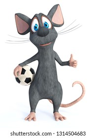 3D rendering of a cute smiling cartoon mouse posing with a soccer ball in his hand and doing a thumbs up. White background.