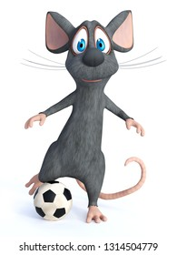 3D rendering of a cute smiling cartoon mouse kicking a soccer ball. White background.