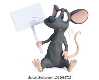 3D rendering of a cute smiling cartoon mouse sitting down on the floor and holding a blank sign. White background.
