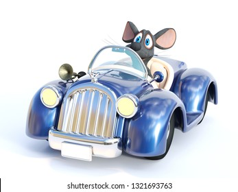 3D rendering of a cute smiling cartoon mouse sitting in a cabriolet car that he is driving. White background.
