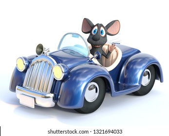 3D rendering of a cute smiling cartoon mouse waving his hand while sitting in a cabriolet car that he is driving. White background.