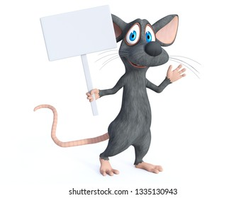 3D rendering of a cute smiling cartoon mouse holding a blank sign and waving while marching. White background.