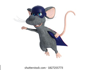 3D rendering of a cute smiling cartoon mouse flying while dressed as a super hero with a blue face mask and cape. White background.