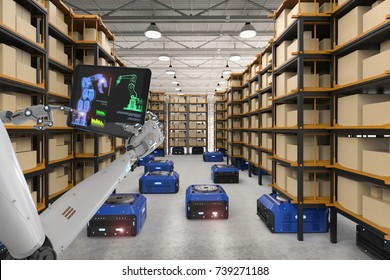 3d rendering cyborg control warehouse robot working in factory