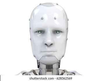 3d rendering cyborg face with virtual display in eyes