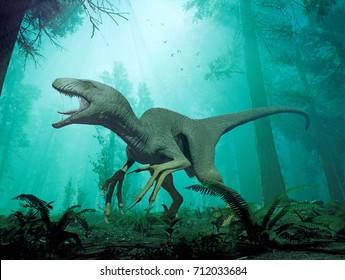 A 3d rendering of a Dakotaraptor in Hell Creek 66 million years ago.