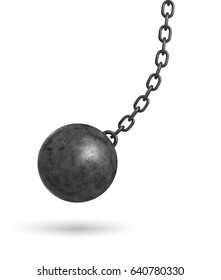 3d rendering of a dark black wrecking ball hanging from a chain and swinging in one side. Restricted environment. Monetary obligations. Getting out of bonds.
