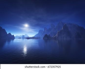 3d rendering of a dark blue fantasy landscape