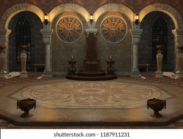 3D rendering of a dark fairy tale throne room
