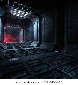 3D rendering of dark and gloomy science fiction concept corridor with white and red lights and horror themed moody atmosphere