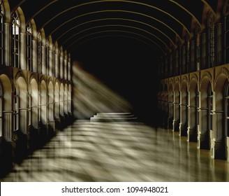 3D rendering dark hall scene in Mythological novel,nobody,fantasy,sunshine through the window