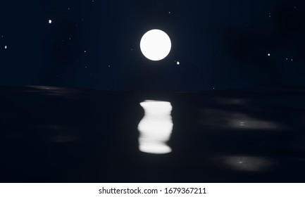 3D rendering of dark night sky with bright stars and a shining full moon with a reflection on the black ocean. Illustration is in a cartoon style. Stars and moon reflect on the water.