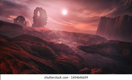 3D rendering of dark and scary hell environment with spooky landscape and fiery atmosphere - original concept art without reference
