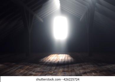3d rendering of darken empty attic with light rays