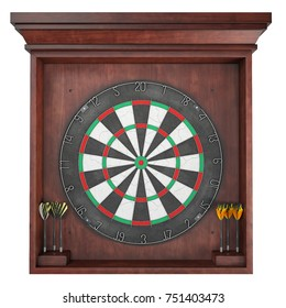 3d Rendering of a Dart Board on white background. Isolated