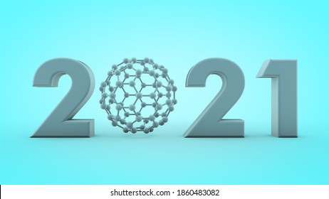 3D rendering of the date 2021 with a carbon molecule instead of zero. Symbol of the new year, scientific discoveries in the field of chemistry on a blue background. The idea of graphene technologies