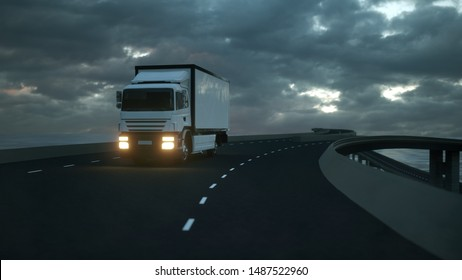 3d rendering of a Delivery Truck on the Road with Beautiful Sky.