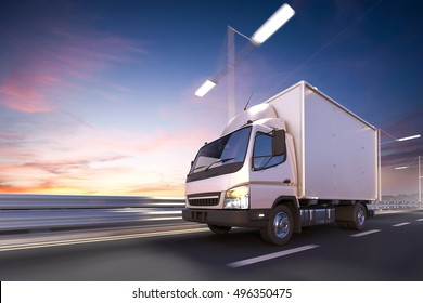 3d rendering of delivery truck on the road at dawn