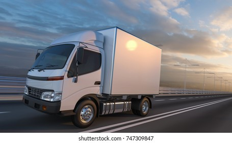 3d rendering of a Delivery Truck on the Road with Beautiful Sky