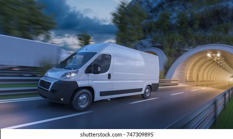 3d rendering of Delivery Van and a Truck on the Move at Sunset