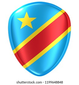 3d rendering of a Democratic Republic of Congo flag icon on white background.