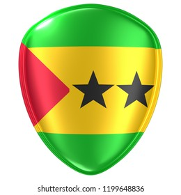 3d rendering of a Democratic Republic of Sao Tome and Principe flag icon on white background.