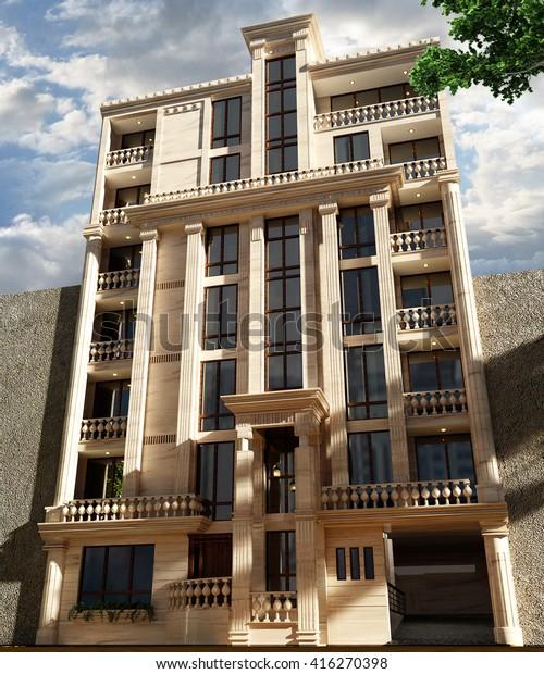 3d Rendering Design Classical Apartment Elevation Stock ...
