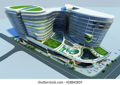 3d rendering and design - commercial mall - general view