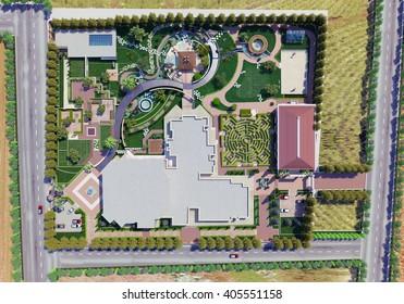 3d rendering and design - landscape of a villa - site plan